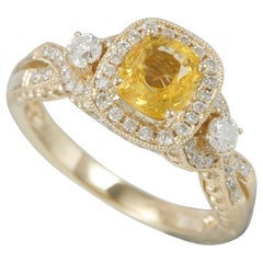 Suzy Levian 14 Karat Yellow Gold Yellow Sapphire and Diamond Ring