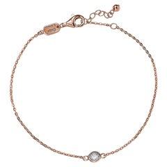Suzy Levian 14K Rose Gold 0.25 Carat White Diamond Solitaire Bracelet