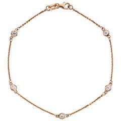 Suzy Levian 14K Rose Gold 0.75 Carat White Diamond Station Bracelet