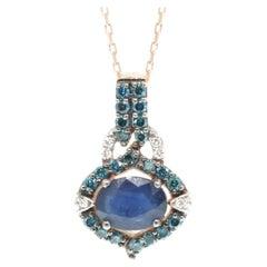 Suzy Levian 14K Rose Gold Oval-Cut Sapphire Blue and White Diamond Pendant