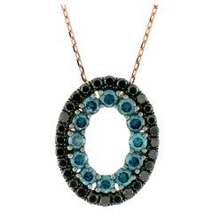 Suzy Levian 14K Rose Gold Round Black & Blue Diamond Pendant