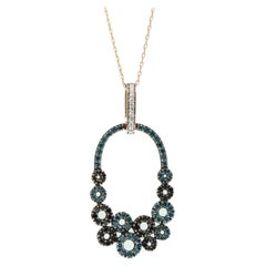 Suzy Levian 14K Rose Gold Round Blue, Black and White Diamond Pendant