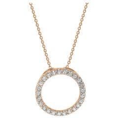 Suzy Levian 14K Rose Gold White Diamond Circle Pendant