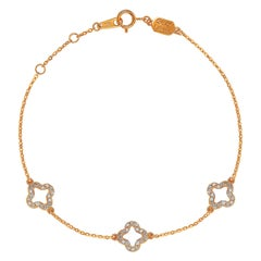 Suzy Levian 14K Rose Gold White Diamond Clover by the Yard Station Bracelet