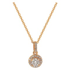 Suzy Levian 14k Rose Gold White Diamond Halo Pendant