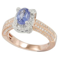 Suzy Levian 14K Two-Tone White and Rose Gold White Diamond Blue Sapphire Ring