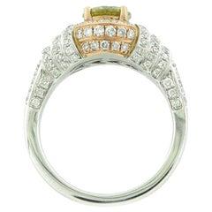 Suzy Levian 14K Two-Tone White and Rose Gold Yellow-Green & White Diamond Ring