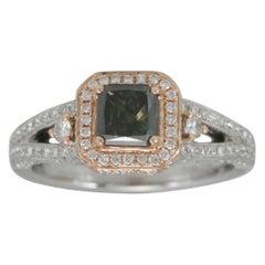 Suzy Levian 14K Two-Tone White & Rose Gold Ascher Cut Green & White Diamond Ring