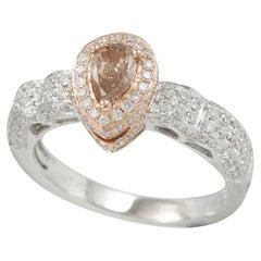 Suzy Levian 14K Two-Tone White & Rose Gold Pear-Cut Brown & White Diamond Ring