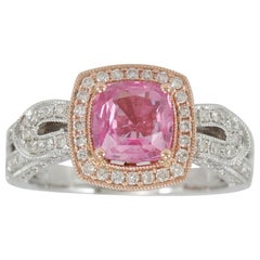 Suzy Levian 14K Two-Tone White & Rose Gold Pink Ceylon Sapphire and Diamond Ring