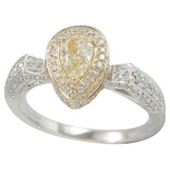 Suzy Levian 14K Two-Tone White & Yellow Gold and Pear Cut Yellow Diamond Ring