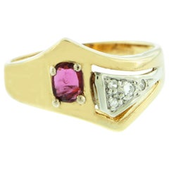 Suzy Levian 14K Two-Tone White & Yellow Gold Oval-Cut Ruby Vintage Ring