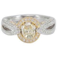 Suzy Levian 14K Two-Tone White & Yellow Gold Oval Yellow & White Diamond Ring