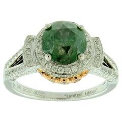 Suzy Levian 14K Two-Tone White & Yellow Gold Round Green and White Diamond Ring