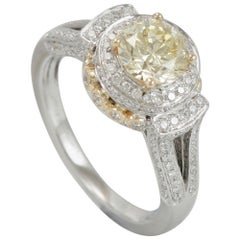 Suzy Levian 14K Two-Tone White & Yellow Gold Round Yellow & White Diamond Ring