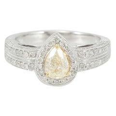 Suzy Levian 14K Two-Tone White & Yellow Gold Yellow Diamond Pear-Cut Ring