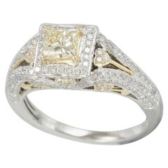 Suzy Levian 14K Two-Tone Yellow and White Gold Yellow Diamond Princess Cut Ring
