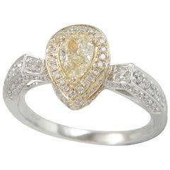 Suzy Levian 14K Two-Tone Yellow White Gold Pear Cut Yellow & White Diamond Ring