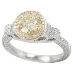 Suzy Levian 14K Two-Tone Yellow & White Gold Round Yellow & White Diamond Ring