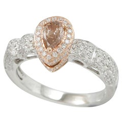 Suzy Levian 14K White and Rose Gold Brown Diamond and White Diamond Petite Ring