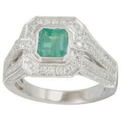 Suzy Levian 14K White Colombian Emerald 1.13ct TDW Diamond Ring 'SI1-SI2, H-I'