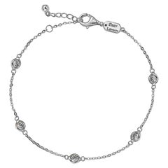 Suzy Levian 14K White Gold 0.75 Carat White Diamond Station Bracelet