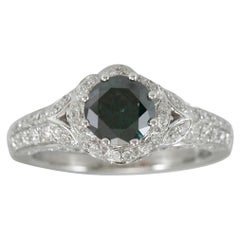 Suzy Levian 14K White Gold and Olive Round Green Diamond Bridal Flower Ring