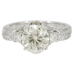 Suzy Levian 14K White Gold and Round White Diamond French Filigree Pave Ring