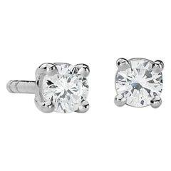 Suzy Levian 14K White Gold Classic Four-Prong 0.25 Carat Diamond Stud Earrings