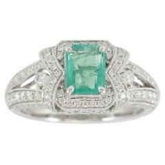 Suzy Levian 14K White Gold Colombian Emerald White Diamond Ring