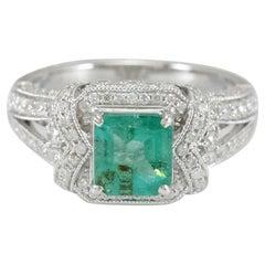 Suzy Levian 14K White Gold Colombian Emerald White Diamonds Ring