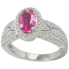 Suzy Levian 14K White Gold Oval Cut Pink Ceylon Sapphire and White Diamond Ring