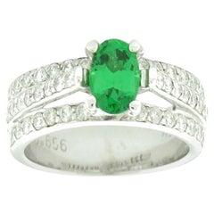 Suzy Levian 14K White Gold Oval-Cut Tsavorite Garnet and White Diamond Ring