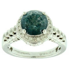 Suzy Levian 14K White Gold Round Blue and White Diamond Halo Engagement Ring