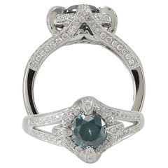 Suzy Levian 14K White Gold Round Blue and White Diamond Ring