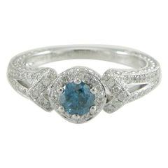 Suzy Levian 14K White Gold Round Blue & White Diamond Halo Engagement Ring