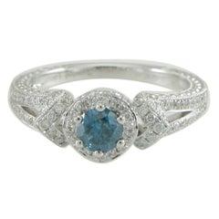 Suzy Levian 14K White Gold Round Blue & White Diamond Halo Ring