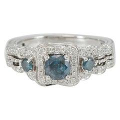Suzy Levian 14K White Gold Round Blue & White Diamond Ring