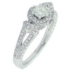 Suzy Levian 14K White Gold Round White Diamond Bridal Engagement Ring