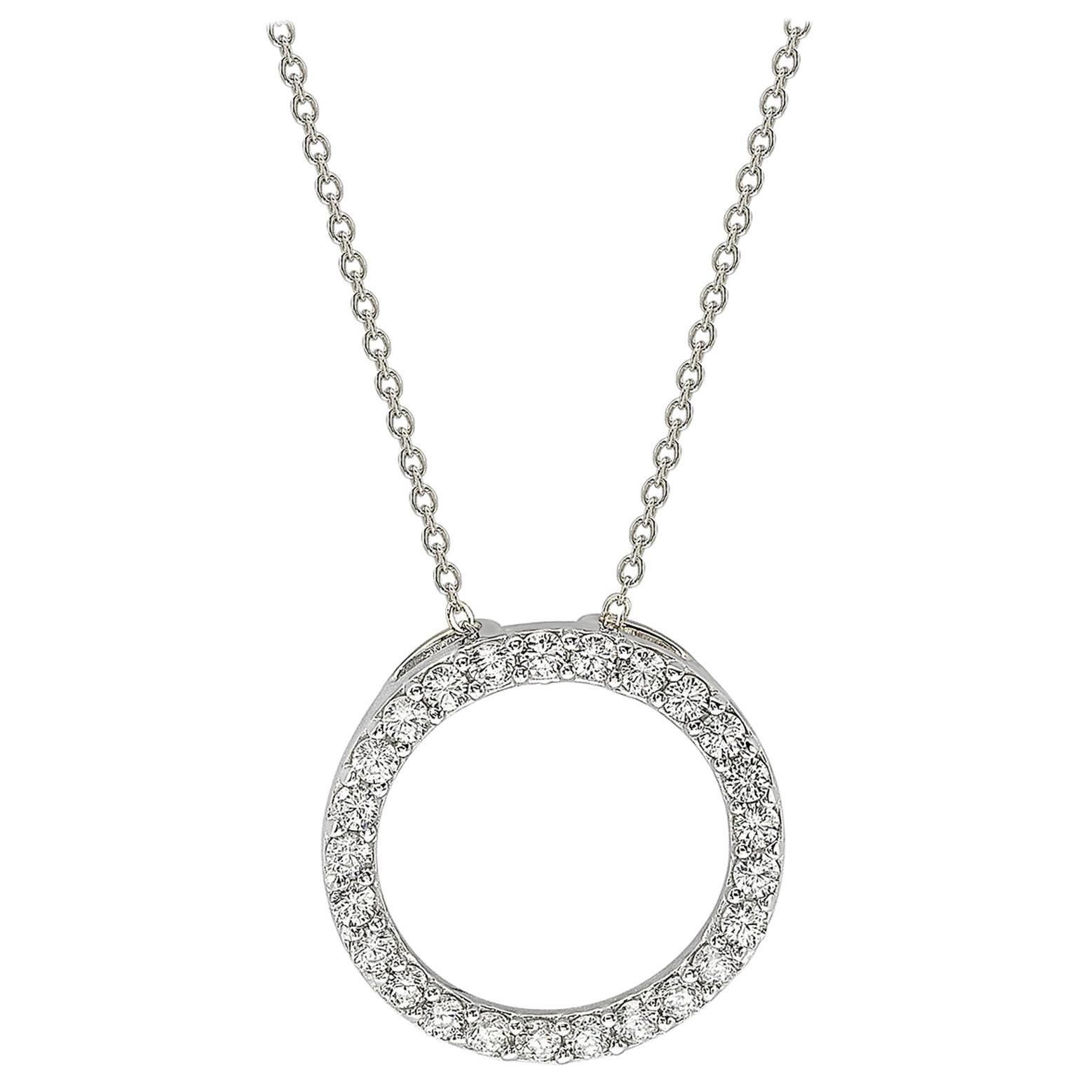 Suzy Levian 14K White Gold White Diamond Circle Pendant