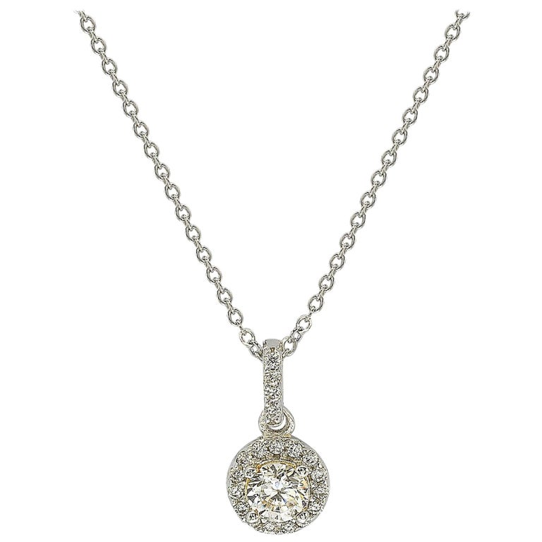 Suzy Levian 14K White Gold White Diamond Halo Pendant For Sale