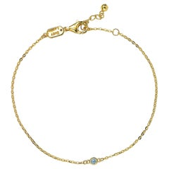 Suzy Levian 14K Yellow Gold 0.15 Carat White Diamond Solitaire Bracelet
