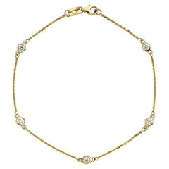 Suzy Levian 14K Yellow Gold 0.25 Carat White Diamond Station Bracelet