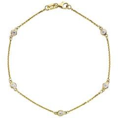Suzy Levian 14K Yellow Gold 0.75 Carat White Diamond Station Bracelet