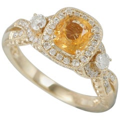 Suzy Levian 14K Yellow Gold Cushion-Cut Natural Yellow Sapphire and Diamond Ring