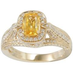 Suzy Levian 14K Yellow Gold Cushion Cut Yellow Sapphire and White Diamond Ring