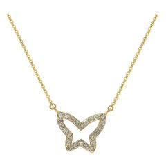 Suzy Levian 14k Yellow Gold Diamond Butterfly Necklace