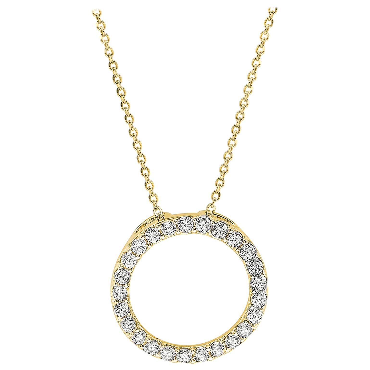 Suzy Levian 14K Yellow Gold White Diamond Circle Pendant