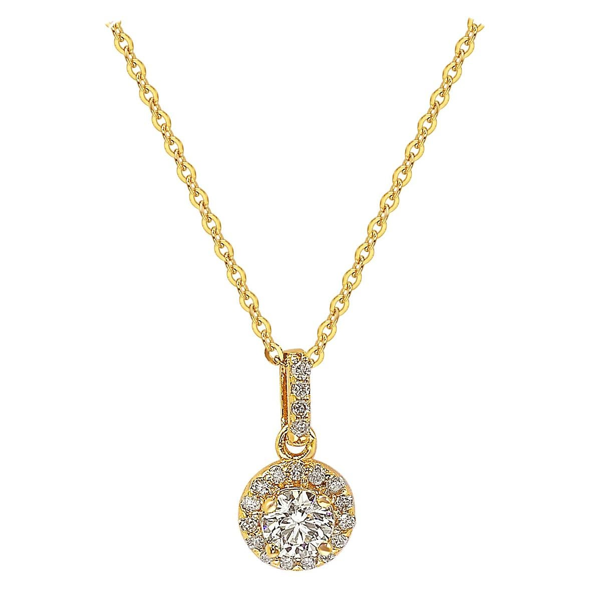 Suzy Levian 14k Yellow Gold White Diamond Halo Pendant
