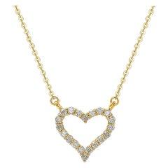 Suzy Levian 14k Yellow Gold White Diamond Heart Necklace
